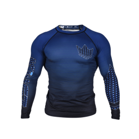 Rashguard Herren BJJ KINGZ CROWN IBJJF RANK 3.0 Blau